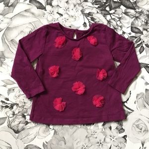 Burgundy w/Pink Puffs Long Sleeve Tee